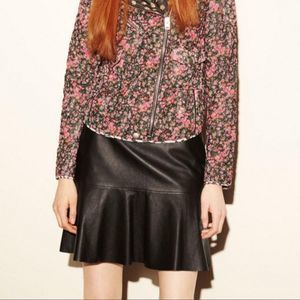 Coach Fluid Leather Peplum Mini Skirt Black NWT 6